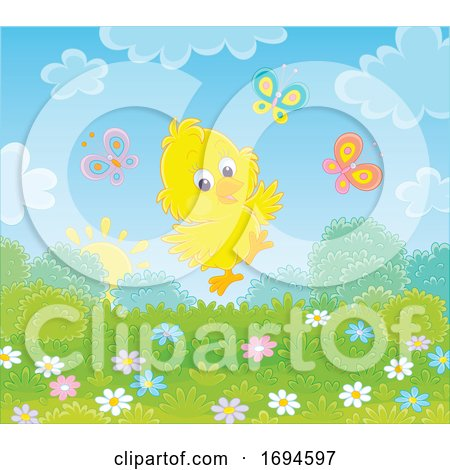 Spring Chick with Butterflies Posters, Art Prints