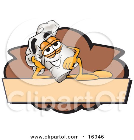 Clipart Picture of a Chefs Hat Mascot Cartoon Character Resting Over a Blank Brown Label by Toons4Biz