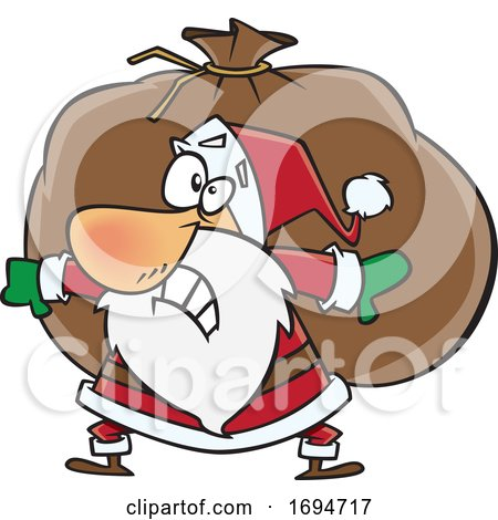 Cartoon Christmas Santa Carrying a Heavy Sack by toonaday