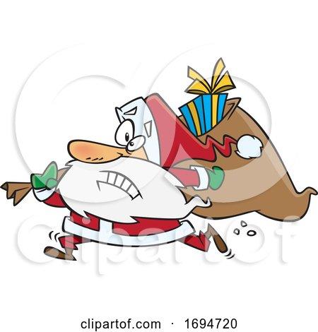 Cartoon Christmas Santa Rushing by toonaday