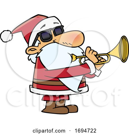Cartoon Christmas Santa Playing a Trumpet by toonaday