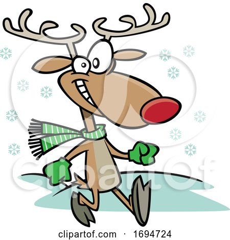Cartoon Jolly Reindeer Taking a Stroll by toonaday