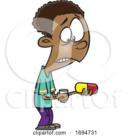 Cartoon Boy Looking at a Giant Pill by toonaday