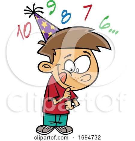 Cartoon Boy Counting down to New Year by toonaday