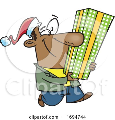 Cartoon Festive Man Carrying a Tall Christmas Gift by toonaday