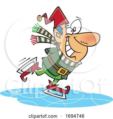 Cartoon Christmas Elf Ice Skating by toonaday