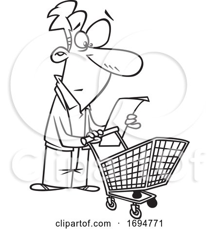 Cartoon Black and White Man Reading a Shopping List by toonaday