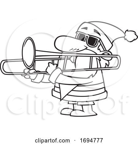 Cartoon Black and White Christmas Santa Playing a Trombone by toonaday