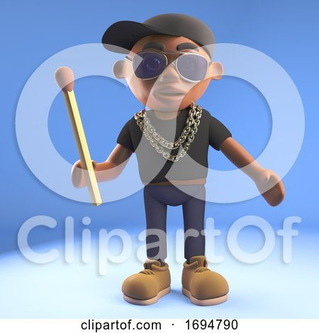 Cartoon 3d Black Hip Hop Rapper in Baseball Cap Holding an Unlit Match, 3d Illustration by Steve Young