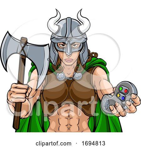 Spartan Trojan Female Warrior Gamer Woman by AtStockIllustration
