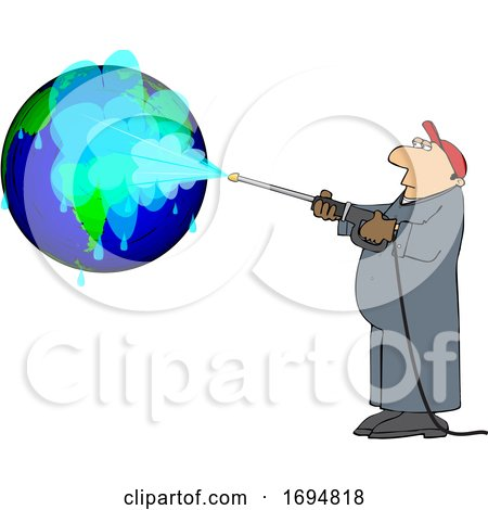Clipart of a Cartoon Worker Pressure Washing a Globe - Royalty Free Vector Illustration by djart
