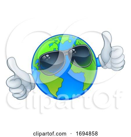 Earth Globe Sunglasses Shades World Cartoon Mascot by AtStockIllustration