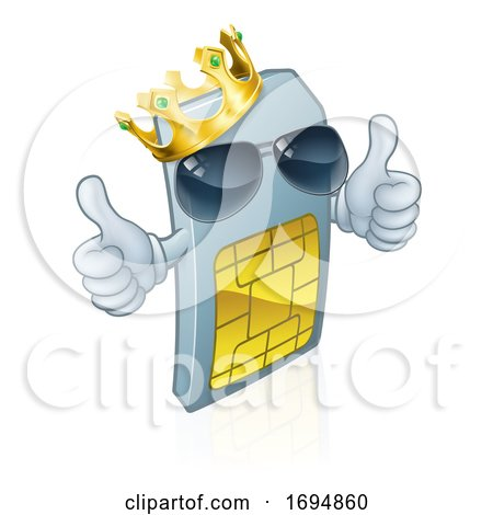 Sim Card Mobile Phone Thumbs up Cartoon Mascot by AtStockIllustration