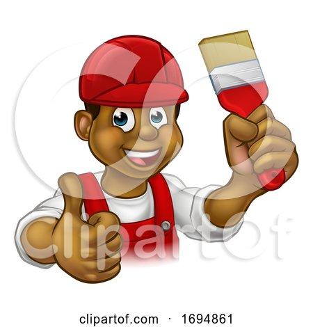 Painter Decorator Handyman Cartoon Man Posters, Art Prints
