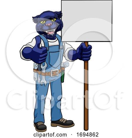 Panther Construction Cartoon Mascot Handyman Posters, Art Prints
