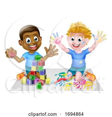 Boys Playing Having Fun Posters, Art Prints