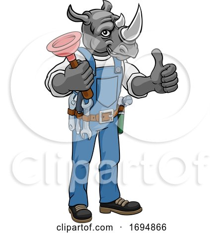 Rhino Plumber Cartoon Mascot Holding Plunger Posters, Art Prints