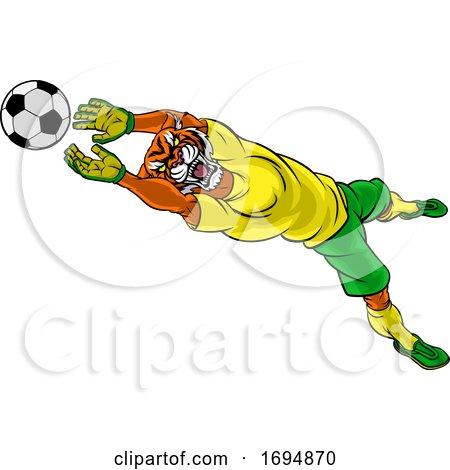 Tiger Soccer Football Player Animal Sports Mascot by AtStockIllustration