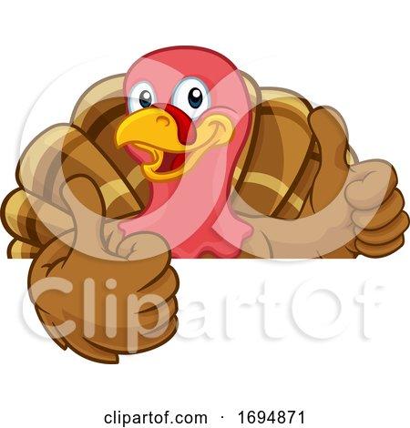 Turkey Thanksgiving or Christmas Cartoon Character by AtStockIllustration