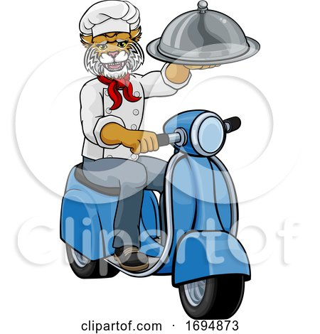 Wildcat Chef Scooter Mascot Cartoon Character by AtStockIllustration