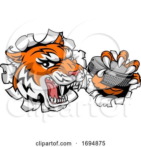 Tiger Ice Hockey Player Animal Sports Mascot by AtStockIllustration