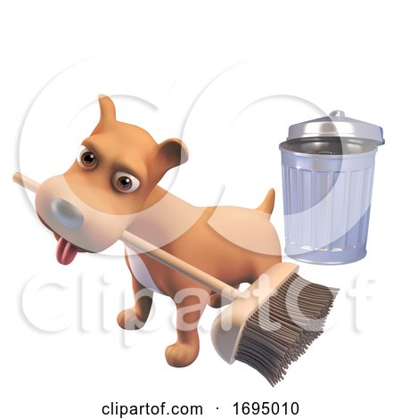 3d Puppy Dog Character Sweeping with a Broom near a Trash Can, 3d Illustration Posters, Art Prints