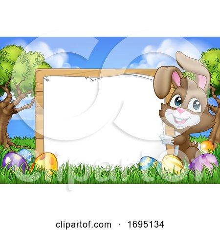 Easter Bunny Rabbit Eggs Sign Background Cartoon Posters, Art Prints