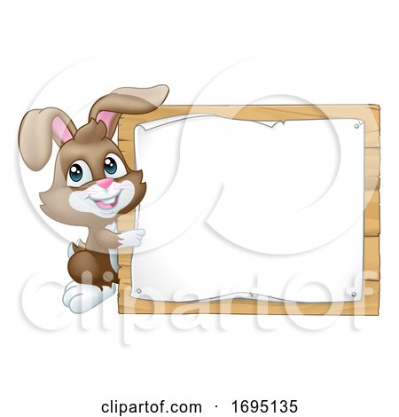 Easter Bunny Rabbit Sign Background Cartoon Posters, Art Prints