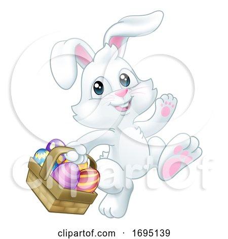 Easter Bunny Rabbit Eggs Basket Cartoon by AtStockIllustration