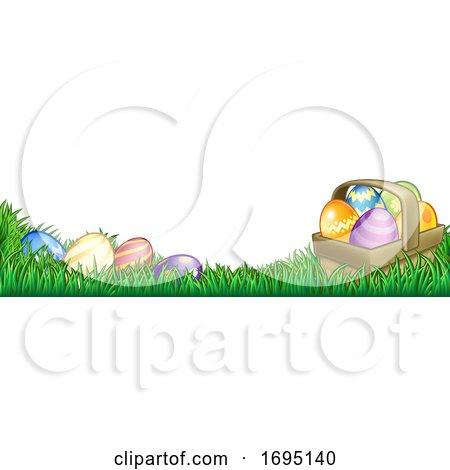 Easter Eggs Basket Background by AtStockIllustration
