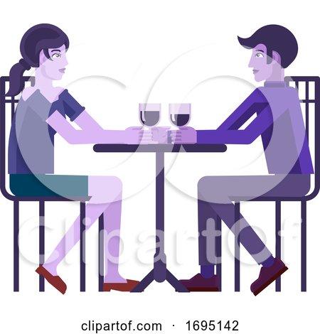 Young Couple Dinner Wine Restaurant Cartoon by AtStockIllustration