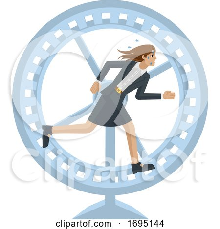 Business Woman Running Stress Hamster Wheel by AtStockIllustration