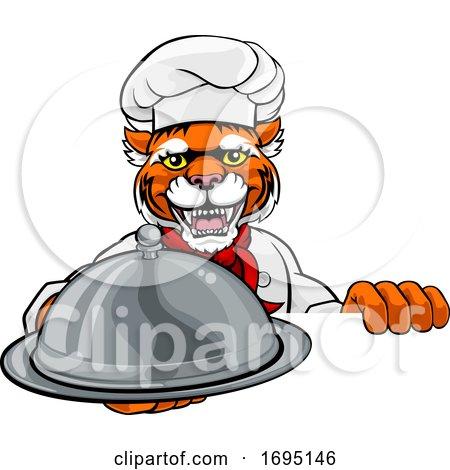Tiger Chef Mascot Sign Cartoon Character by AtStockIllustration