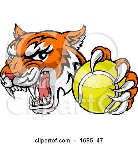 Tiger Tennis Player Animal Sports Mascot by AtStockIllustration