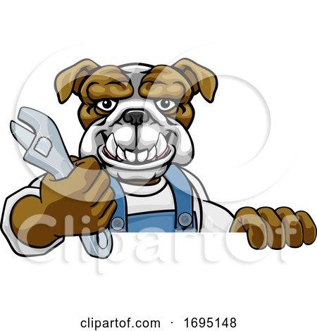 Bulldog Plumber or Mechanic Holding Spanner Posters, Art Prints