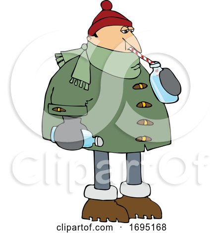 Cartoon Man in Winter Clothes Sipping Water by djart