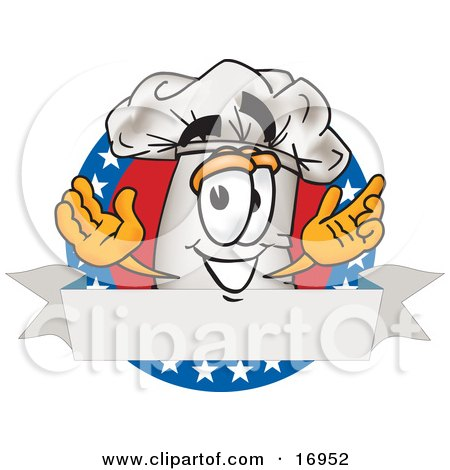 Clipart Picture of a Chefs Hat Mascot Cartoon Character Over a Blank Banner Label With Stars by Toons4Biz