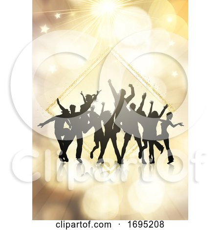 Party Crowd on a Gold Bokeh Lights Background by KJ Pargeter
