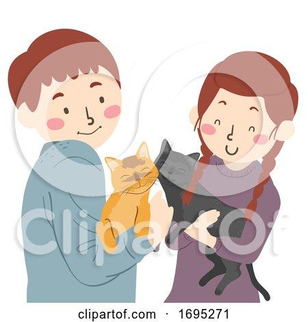 Teen Couple Cats Pets Illustration by BNP Design Studio ...
