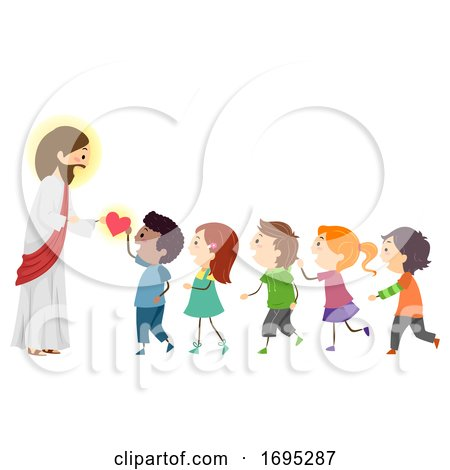 Stickman Kids Jesus Give Hearts Illustration by BNP Design Studio