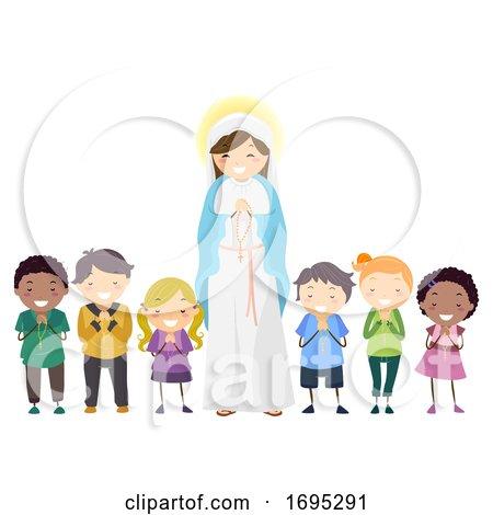 Stickman Kids Mother Mary Kids Rosary Illustration by BNP Design Studio
