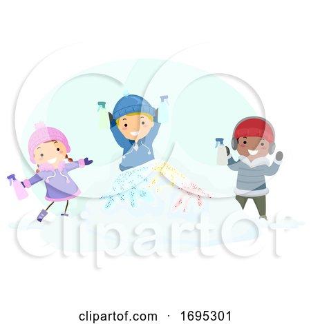 Stickman Kids Snow Paint Illustration Posters, Art Prints