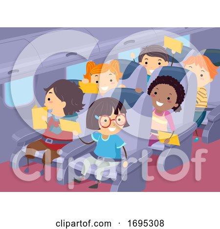 Stickman Kids Travel Airplane Illustration by BNP Design Studio