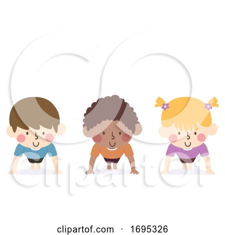 Kids Exercise Push up Illustration by BNP Design Studio