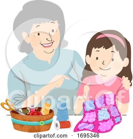 Senior Girl Kid Grandma Quilting Illustration Posters, Art Prints