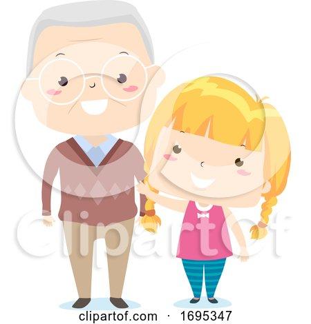 Senior Man Kid Girl Adjective Old Illustration by BNP Design Studio
