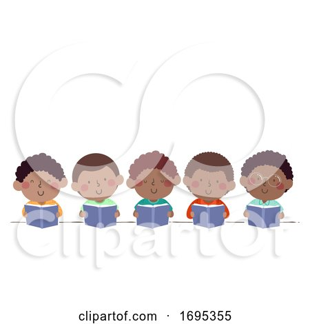 Kids Boys African Read Book Illustration by BNP Design Studio