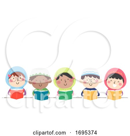 Kids Muslim Read Book Illustration by BNP Design Studio