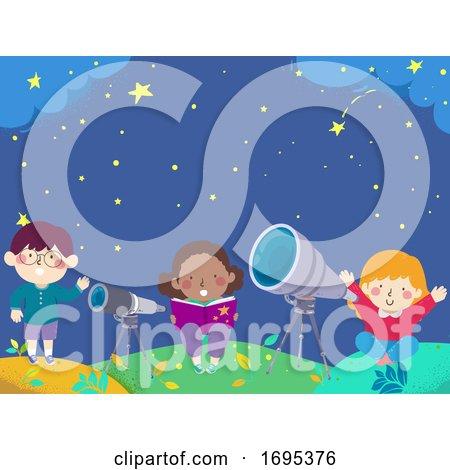 Kids Stargazing Book Telescope Illustration by BNP Design Studio