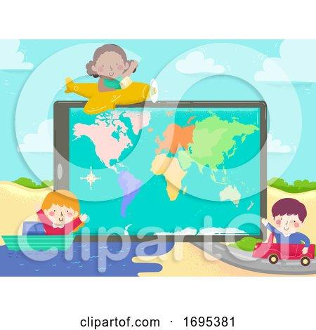 Kids Tablet World Map Plane Ship Car Illustration by BNP Design Studio